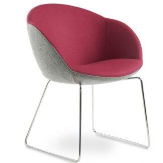 Gurgos Designer Tub Chair - Sled Base Angle